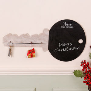 Key Shaped Chalkboard With Wooden Key Rack