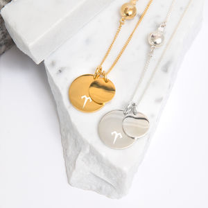 Double Pendant Coin Necklace Silver