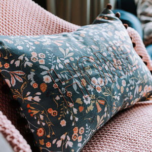 Vintage Floral Home Embroidered Cushion