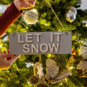 Let It Snow Christmas Hanging Wooden Sign
