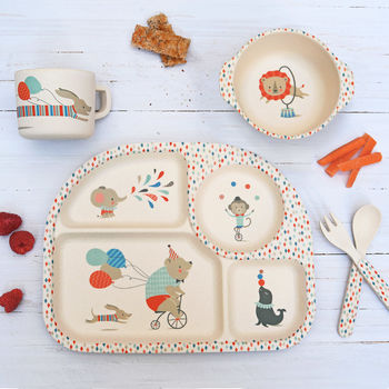 Children's Bamboo Dinner Set ~ Circus Animals