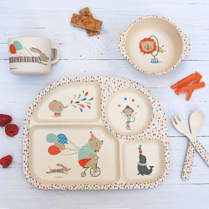 Children's Bamboo Dinner Set ~ Circus Animals - summer sale