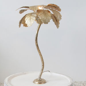 Brass Palm Tree Lamp - living room