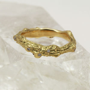 3mm Court Profile 18ct Gold Diamond 'Tweed' Ring - rings