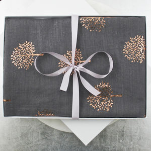 Rose Gold Metallic Tree Cotton Scarf - new in fashion