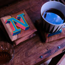 Custom Initial Letter Hand Painted Wooden Coaster