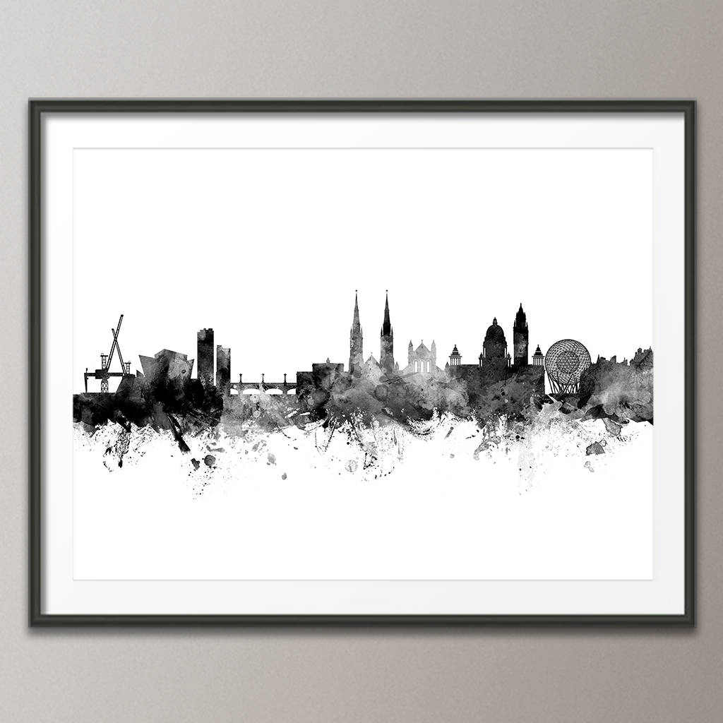 Belfast skyline art print poster frame not included