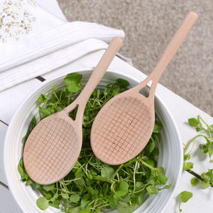 Wooden Tennis Racket Style Salad Servers