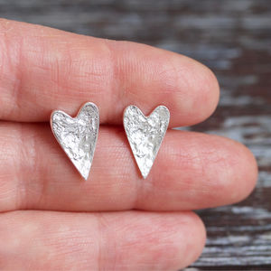 Recycled Silver Textured Heart Studs