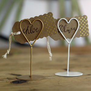 Set Of Eight Heart Name Place Holders White / Gold - place card holders