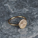 Solid Gold Star Coin Stud Ring