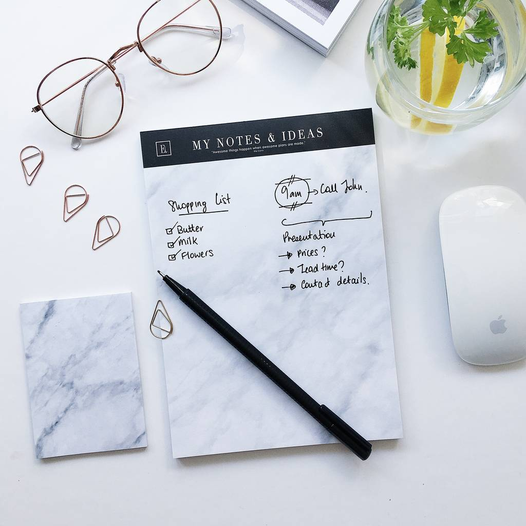 My Notes And Ideas | Marble Notepad by Ella Iconic