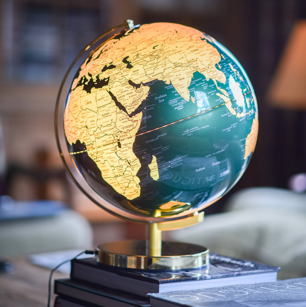 Illuminated LED Globe In Green And Gold