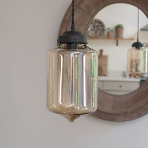 Cylinder Glass Pendant Light - dining room