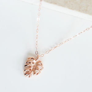 9ct Rose Gold Monstera Palm Leaf Charm Necklace
