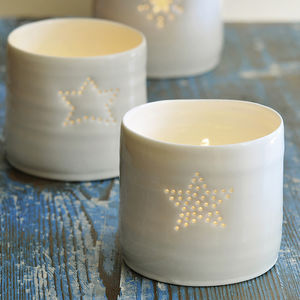 Porcelain Full Star Tealight - dining room