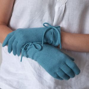 Cashmere Gloves With Bow Detail - women's accessories