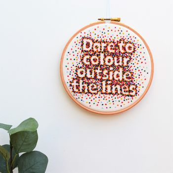 Rainbow Hand Embroidery Inspirational Quote Hoop Art