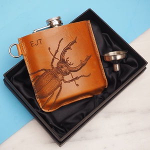 Personalised Leather Hip Flask With Stag Beetle