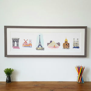 Paris Skyline Illustration Limited Edition Giclee Print