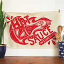 Hot Sauce On Everything Cotton Tea Towel