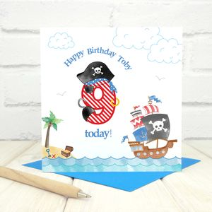 Personalised 9th Birthday Pirate Card