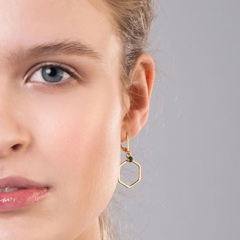 Delicate Hexagon Earrings