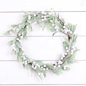 Frosted Mistletoe Berry Christmas Wreath - wreaths