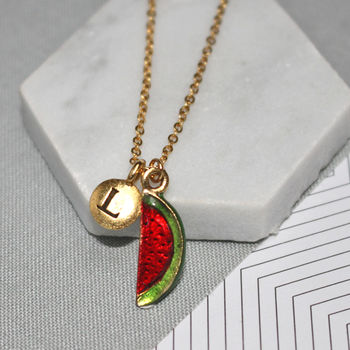 gold personalised watermelon charm necklace