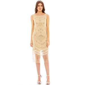 Zandi Embellished Nude Flapper Dress - party wear & accessories