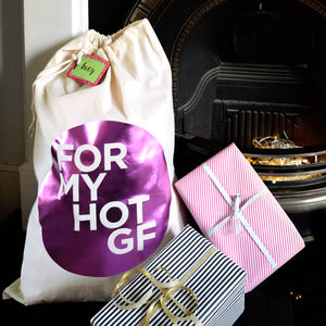 Girlfriend Present Gift Sack With Personalised Tag - stockings & sacks