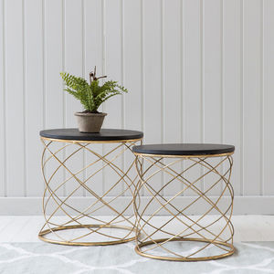 Nesting Gold Cylindrical Tables - furniture