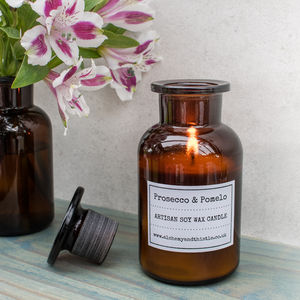 Prosecco And Pomelo Laboratory Bottle Soy Candle - prosecco gifts