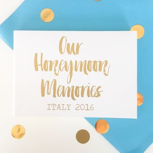 Personalised Contemporary Honeymoon Memories Book - albums & guest books