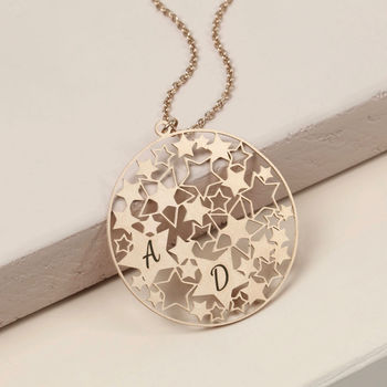 Personalised Cut Out Stars Disc Necklace