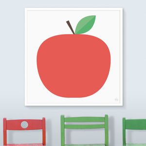 Apple Print In Red, Grey Or Green - children's room