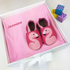 Personalised Flamingo Baby Shoes Gift Box - socks, tights & booties