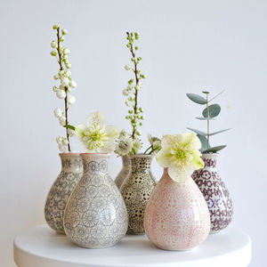 Patterned Stoneware Mini Vase - tableware