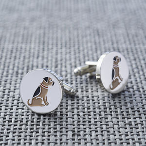Border Terrier Dog Cufflinks - men's jewellery