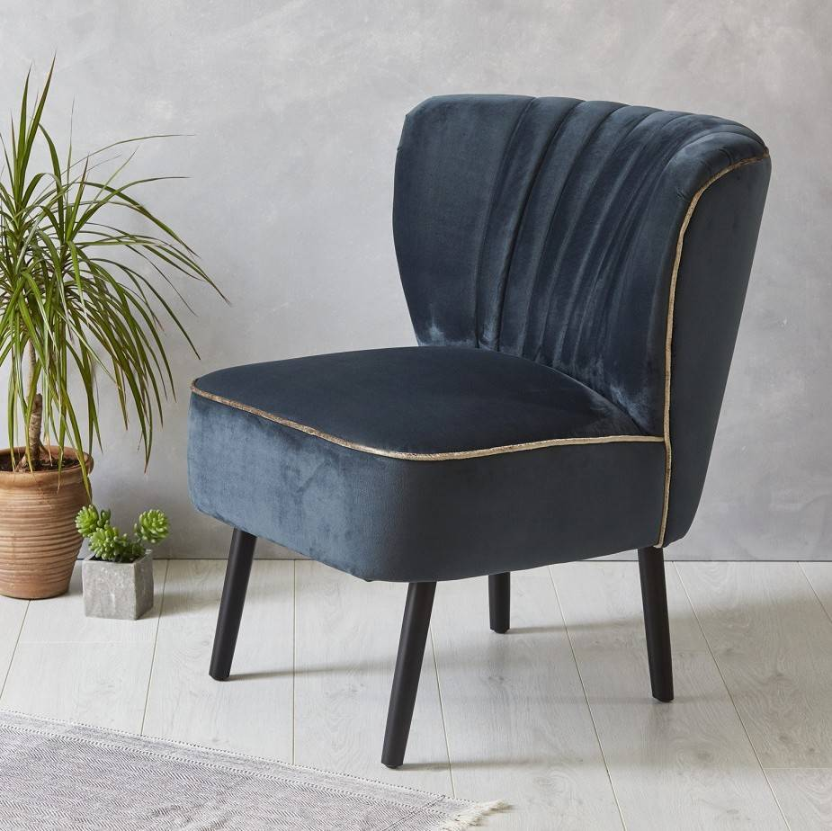 ink blue velvet mid century cocktail chair. ink blue velvet mid century cocktail chair by fern  grey