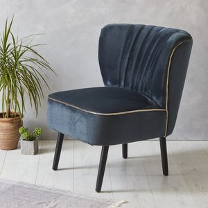 Ink Blue Velvet Mid Century Cocktail Chair - brand new partners