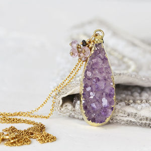 Amethyst Druzy Teardrop Necklace