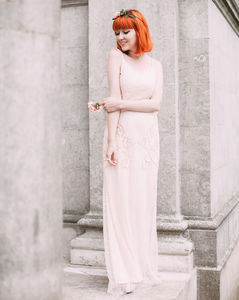 Hand Embellished Art Deco Bridesmaids Maxi Prom Dress - wedding fashion