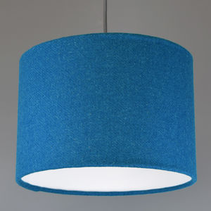 Teal Harris Tweed Wool Lampshade