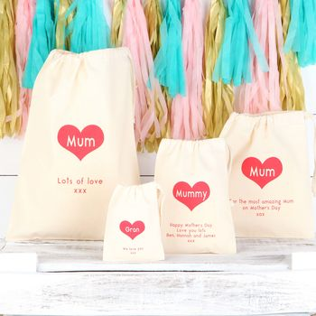 Personalised Love Heart Mother's Day Cotton Bags