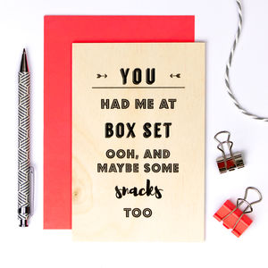 Wooden Anniversary Card 'You Had Me At Box Set' - wedding, engagement & anniversary cards