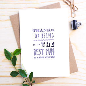 'Thanks For Being The Best Man' Card - wedding stationery
