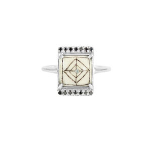 Sami Reindeer Antler And Black Diamond Rectangle Ring