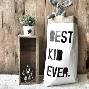 'Best Kid Ever' Paper Storage Bag - storage & organisers