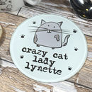 Personalised Crazy Cat Lady Glass Coaster